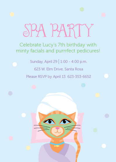 party invitations - Purrrfect Spa Party by Amy Conover