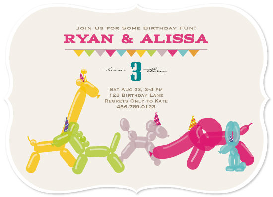 party invitations - Balloon Animal Birthday by Chika Fujisawa