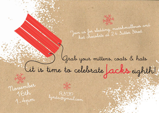 Party Invitations Sledding Birthday At Minted Com