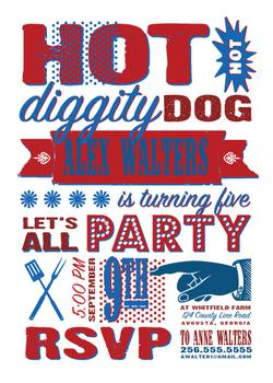 Hot Diggity Dog Party Invitations