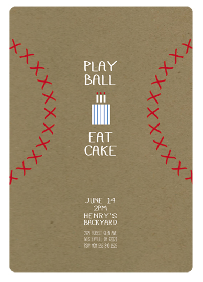 party invitations - Play Ball & Eat Cake by Melissa Law