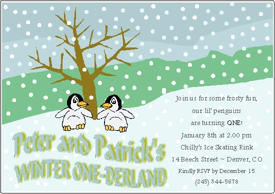 party invitations - 2 Lil Penguins by Rose R.