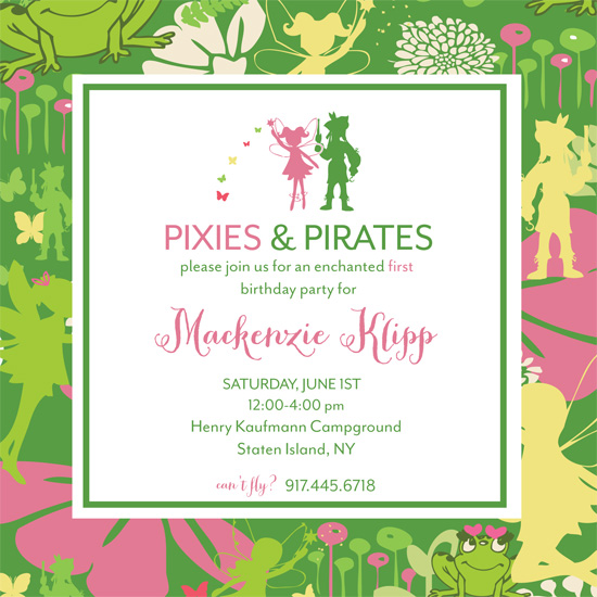 party invitations Pixie and Pirates at Minted – Neverland Party Invitations