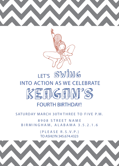 party invitations - Swing Into Action Spiderman Birthday Party by Ashley McKinney
