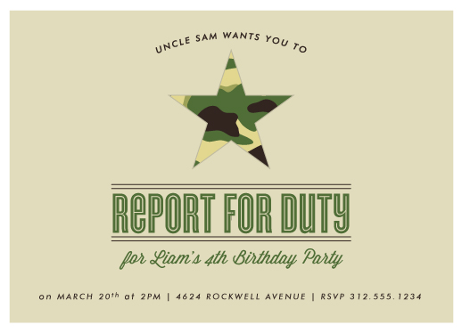 party invitations - Uncle Sam wants you by Squareview Studios