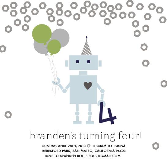 party invitations - Robot Ready Birthday by White Lemon Designs