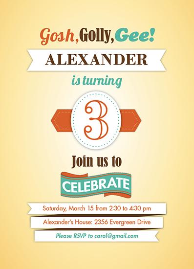 party invitations - Nostalgic 3rd Birthday by Elizabeth Firmage
