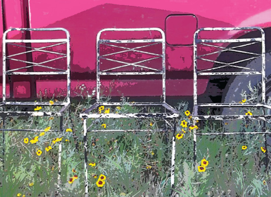 art prints - 3 chairs & a truck by Andrea Robinson