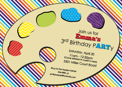 party invitations - Color my pARTy by Emily Welch