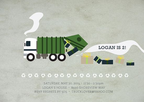 Party invitations gaga over garbage trucks at minted party invitations gaga over garbage trucks by white lemon designs filmwisefo Image collections
