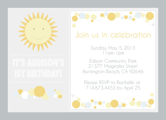 party invitations You Are My Sunshine at Mintedcom