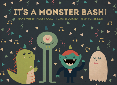 party invitations - Monstrous Fun Monster Bash by Lala Watkins