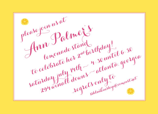 party invitations - not your grandmother's lemonade stand by Callie Burnette