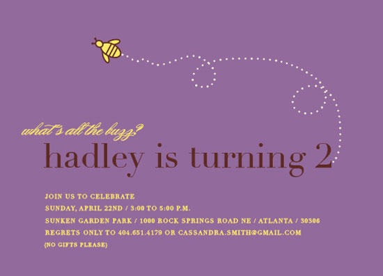 party invitations - what's all the buzz by Callie Burnette