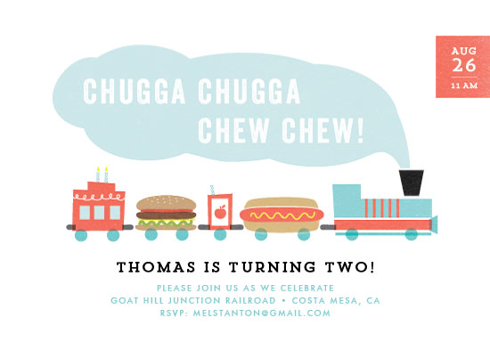 party invitations - Chugga Chew Chew by Frooted Design