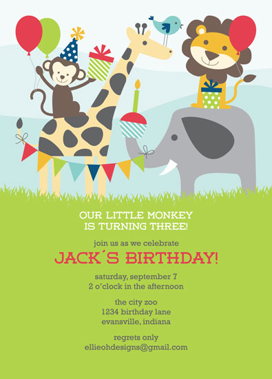 party invitations - Birthday at the Zoo at Minted.com