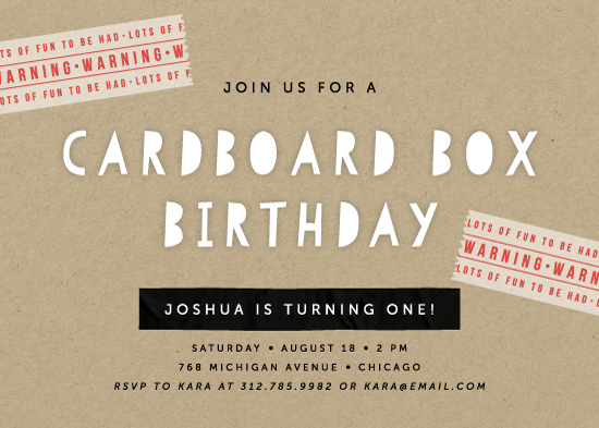 party invitations - Cardboard Box by Lehan Veenker