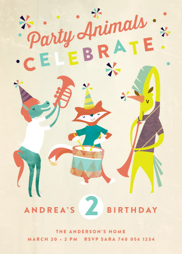 party invitations - Party Animals by Lori Wemple
