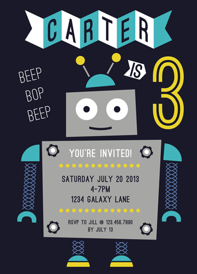 party invitations - Beep Bop by Molly Leonard