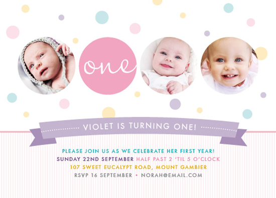 party invitations - Dotti Celebration by A Little Birdie Design Studio