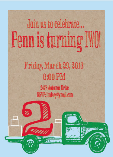 party invitations - VintageTruck by Alli