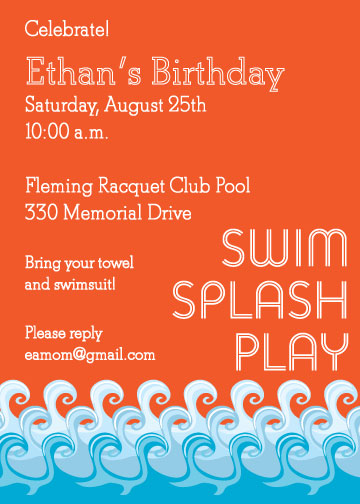 party invitations - Swim Splash Play by Natalie E. Wommack