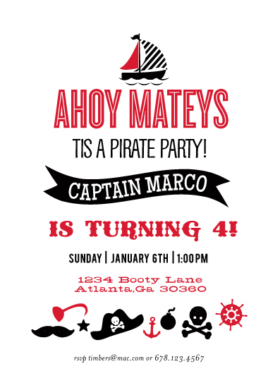 party invitations - Ahoy Mateys by chica design