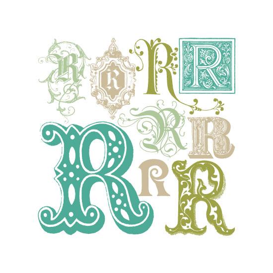 art prints - Regal Rs (Monogram Art) by Color Continuum