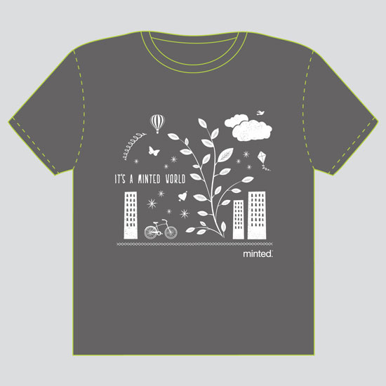 minted t-shirt design - In a Minted World - 2011 by Katie Wahn