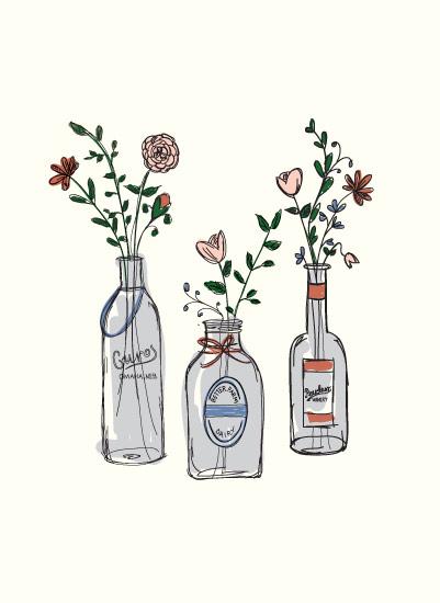 art prints - Glass Bottles by Paper Lovely