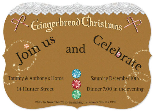 party invitations - Gingerbread Christmas by Cindy Jost