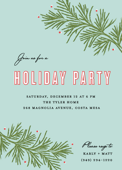 party invitations - Festive Branches by Monica Schafer