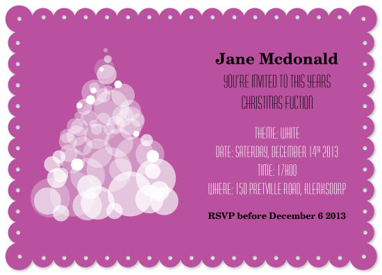 party invitations - White Christmas Function by Nadia