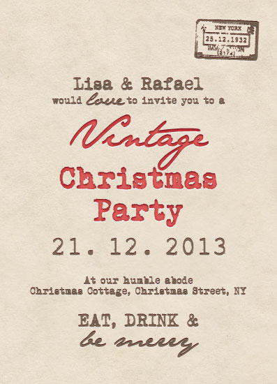 party invitations - Vintage Christmas Postcard by Lisa Busby