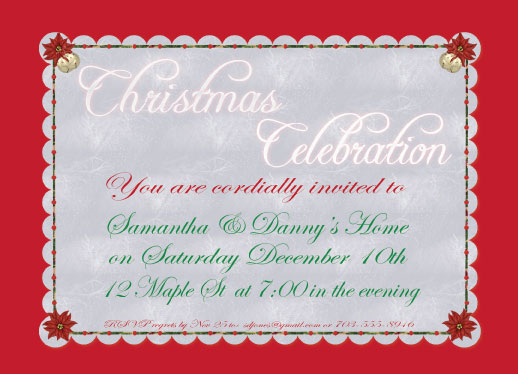 party invitations - Bright Christmas by Cindy Jost