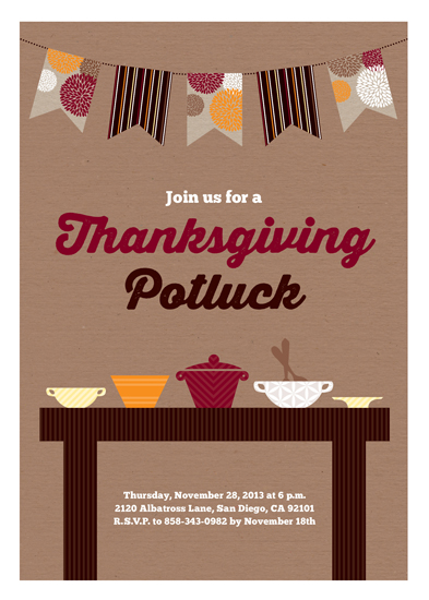 party invitations - Thanksgiving Potluck by Erica Krystek