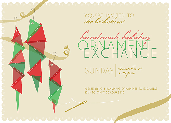 party invitations - Handmade Holiday Ornament Exchange by Julie Thompson