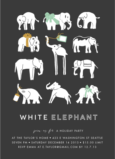 party invitations - wrapped up white elephant at minted, Party invitations
