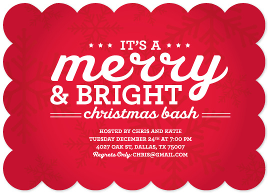 party invitations - Merry And Bright by Joanna
