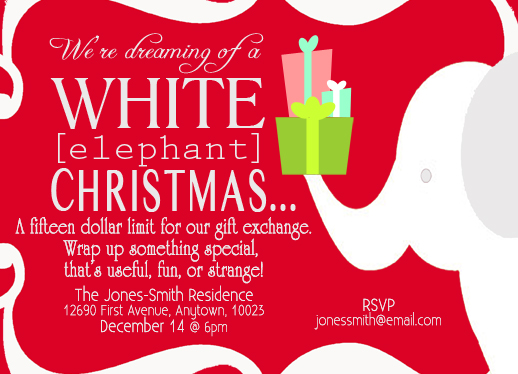 party invitations  white elephant at minted, ugly sweater white elephant party invitations, white elephant christmas party invitations, white elephant christmas party invitations free