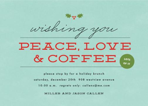party invitations - peace, love & coffee by Sara Hicks Malone