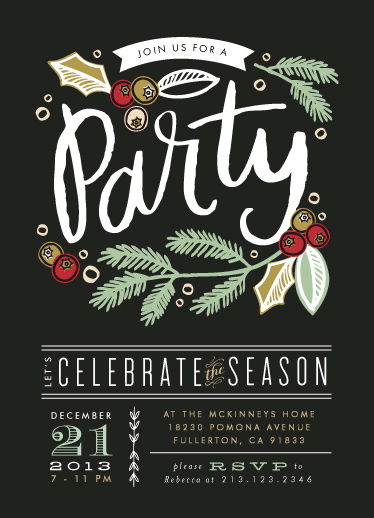 party invitations - Party Pine Branches by Alethea and Ruth
