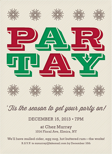party invitations - Holiday Par-tay by Emily Bouman