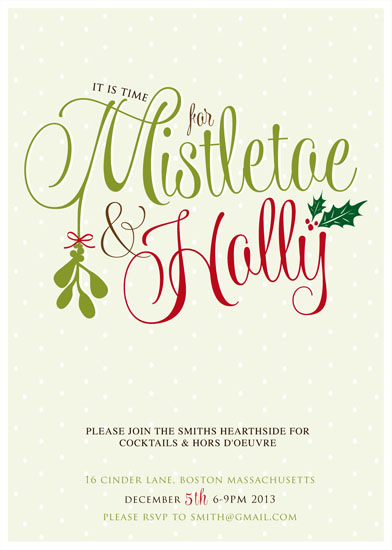 party invitations - Misteltoe and Holly by Vanessa Wolfe