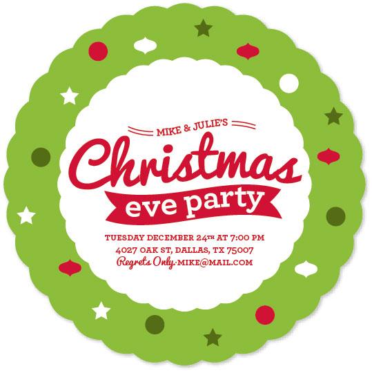 party invitations - Festive Wreath by Joanna