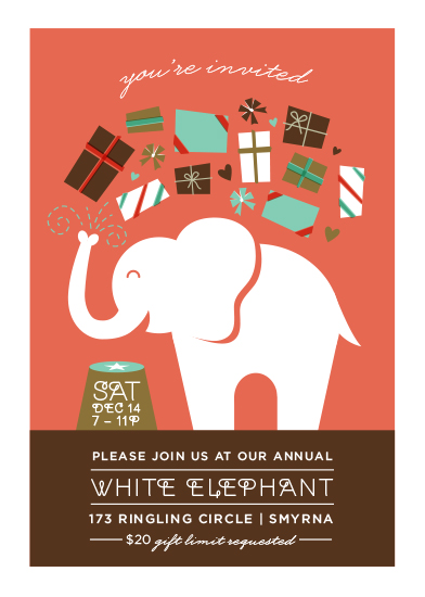 party invitations  topsy turvy white elephant at minted, ugly sweater white elephant party invitations, white elephant christmas party invitations, white elephant christmas party invitations free