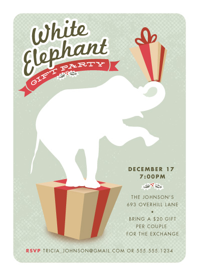 party invitations  circus whimsy holiday white elephant at minted, party invitations