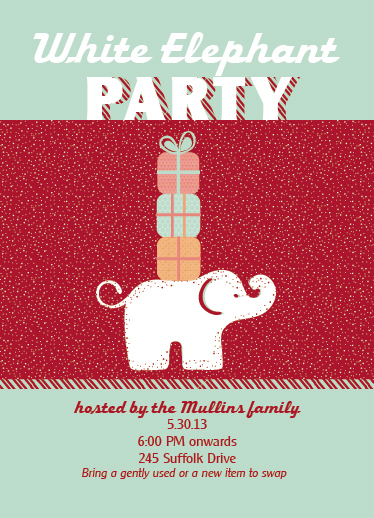 party invitations - White Elelphant by Jana J