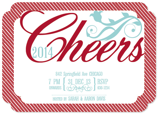 party invitations - Cheers 2014 flourish by Jana J