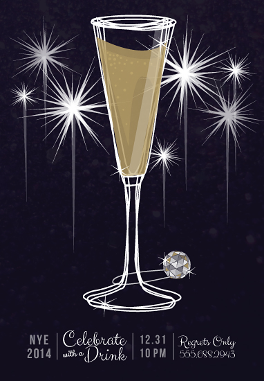 party invitations - NYE Celebrate with a Drink by Julie Thompson